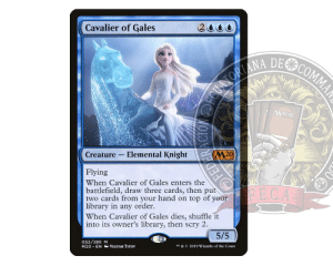 """""""Fear Can't Be Trusted."""": Cavalier of Gales  2000  MAGIC  Creature - Elemental Knight  Flying  When Cavalier of Gales enters the  battlefield, draw three cards, then put  two cards from your hand on top of your  library in any order.  When Cavalier of Gales dies, shuffle it  into its owner's library, then scry 2.  FE.CA  5/5  052/280 M  M20 · EN O VIKTOR TITOV  TM & C 2019 Wizards of the Coast  FEDERACIONECUATORI, """"Fear Can't Be Trusted."""""""