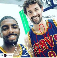 Kyrie hangin' with Kevin Love and his new perm. 👍 or 👎: cavs  Cleveland Kyrie hangin' with Kevin Love and his new perm. 👍 or 👎