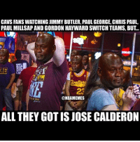 Basketball, Cavs, and Chris Paul: CAVS FANS WATCHING JIMMY BUTLER, PAUL GEORGE, CHRIS PAUL,  PAUL MILLSAP AND GORDON HAYWARD SWITCH TEAMS, BUT..  LE  @NBAMEMES  ALL THEY GOT IS JOSE CALDERON @cavs need to find a GM and make some moves. Before it's too late!