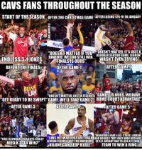 """Accurate? #CavsNation: CAVS FANSTHROUGHOUT THE SEASON  DOESN'T MATTER, ITS JUST A  """"DOESNT MATTER IF YOU  REGUALR SEASON GAME. LEBRON  HAVE KAD.WECAN STILL WIN  ENDLESS 3-1 JOKES  WASNT EVEN TRYING  FINALS IS OURS""""  AFTER GAME  BEFORE THE FINALS  AFTER GAME 1  """"GET READY TO BE SWEPT"""" GAME. WELL TAKE GAME 2n HOMERCOURT ADVANTAGE""""  EATER GAME 5  CAFTER GAME 3  AFTER GAME  """"WARRIORS HAVE4ALL-STARS. LEBRON  THIS IS UNFAIRYOU Guys REALLY CAVSIN 7 WARRIORS ARE TRASH HADNO HELPTHEY ONLY WONBECAUSE  NEED K.D TO WIN?""""  LEBRONFIGUREDIOUT THE WARRIORS OFK.D, DURANT HAD TO JOIN A13 WIN  NOONE CAN STOP KYRIE""""  T TEAM TO WIN A RING Accurate? #CavsNation"""