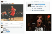 Cavs, Finals, and Nba: Cavs Nation  TAG someone who can't guard you  OBO  You and 27Kothers  14K Shares  Like Comment  Al Share  Ryker Blaze Resio Curry actually played good defense throughoutthe finals  but Irving in on another level when it comes to scoring, and Curry was in foul  trouble a lot  Like Reply: 9.1 hr  26 Replies 20 mins  Uncle Drew Curry  Uniae Reply 0174 1 hr  40 Kepiles mins  Uncle Drew  Stephen Curry  Unlike Reply 174  1 hr  A Hide 15 Replies  View previous replies  BURN Uncle Drew isn't even jokin'