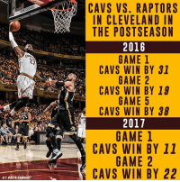 Safe to say the Cleveland Cavaliers have Toronto's number inside The Q.: CAVS vs. RAPTORS  IN CLEVELAND IN  THE POSTSEASON  2016  CAVS WIN BY 31  GANLETAUT  CAVS WIN BY 19  AP  CAVS WIN BY 38  cent  2017  CAVS WIN BY 11  CAVS WIN BY 22  UT esETRICXWRIGHT  RNN  198  010  313  TDS  YY  PNA  Y -B  YY  1B2B  AAE  1B2B5B  RLS  -ENENEN  ENEN  ET  MlMNMU AM MI AM I  AWAWA  AWA  VEO  LP  S(S  VVV  SCE  VV  AAA  ANH  VII H  CCC  AA  ANT  CC  ゐ  , 00 Safe to say the Cleveland Cavaliers have Toronto's number inside The Q.
