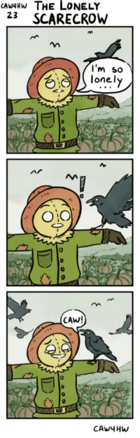 """<p>The lonely scarecrow via /r/wholesomememes <a href=""""http://ift.tt/2zMrBf8"""">http://ift.tt/2zMrBf8</a></p>: CAwHW THE LONELY  23 SCARECROW  l'm so  lonely  0  0:0  0  0  CAW!  0  0 <p>The lonely scarecrow via /r/wholesomememes <a href=""""http://ift.tt/2zMrBf8"""">http://ift.tt/2zMrBf8</a></p>"""