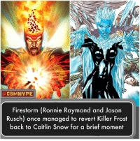 America, Batman, and Facts: CBMHYPE  Firestorm (Ronnie Raymond and Jason  Rusch) once managed to revert Killer Frost  back to Caitlin Snow for a brief moment He turnt up the heat 🔥 Source: Justice League of America Issue No. 7.2 - Firestorm or Killer Frost?🤔| - Comment below and Tag your Friends👇 - batmanvsuperman bvs Firestorm KillerFrost SuicideSquad Superman dcfilms batman Facts wonderwoman Darkseid greenlantern thejoker BarryAllen CaitlinSnow GreenArrow JusticeLeague Supergirl Aquaman dcuniverse Joker Darkseid dcrebirth JLA DCEU TheFlash DCExtendedUniverse injustice comics dccomics dcuniverse detectivecomics
