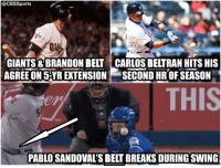 Great day for Belts from @CBSSports: CBSSports  GIANTS BRANDON BELT CARLOS BELTRAN HITS HIS  AGREEON 5YR EXTENSION e SECOND HR SEASON  PABLOSANDOVAL'S BELT BREAKS DURING SWING Great day for Belts from @CBSSports