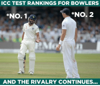 "Ravindra Jadeja & James Anderson are currently the No. 1 & No. 2 bowlers in Test rankings respectively.: CC TEST RANKINGS FOR BOWLERS  ""No. 1 r  *NO. 2  AND THE RIVALRY CONTINUES... Ravindra Jadeja & James Anderson are currently the No. 1 & No. 2 bowlers in Test rankings respectively."