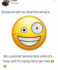 Emoji, Memes, and Mad: Cceli  @ccelli  Someone tell me what this emoji is  @will_ent  My customer service face when it's  busy and I'm trying not to go mad Looool