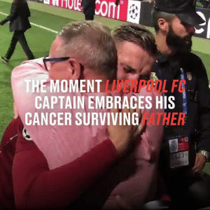 After captaining Liverpool to Champions League glory, Jordan Henderson shared this emotional moment with father, who recently beat cancer. This is what football is all about 👏🙌: Ccom  THE MOMENT LERPOOL F  CAPTAIN EMBRACES HIS  CANCER SURVIVING ATHER  23 After captaining Liverpool to Champions League glory, Jordan Henderson shared this emotional moment with father, who recently beat cancer. This is what football is all about 👏🙌