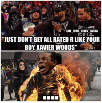 """This rap battle was awesome 😂😂. Both sides did great but this was the best line imo. wwe wwememe wwememes newday newdayrocks xavierwoods usos theusos kofikingston bige wwefunny hardyboyz cesaro sheamus wrestler wrestling prowrestling worldwrestlingentertainment wweuniverse wwenetwork wwesuperstars raw wweraw smackdown smackdownlive sdlive wwesmackdown nxt wwelive greatballsoffire: CE  """"QHE WHOLIKESSASHA  -  -  """"JUST DONTGET ALL RATED R LIKEYOUR  BOY XAVIER WOODS"""" This rap battle was awesome 😂😂. Both sides did great but this was the best line imo. wwe wwememe wwememes newday newdayrocks xavierwoods usos theusos kofikingston bige wwefunny hardyboyz cesaro sheamus wrestler wrestling prowrestling worldwrestlingentertainment wweuniverse wwenetwork wwesuperstars raw wweraw smackdown smackdownlive sdlive wwesmackdown nxt wwelive greatballsoffire"""