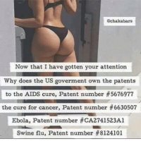 Paying attention now?   Time to Get involved, you live here: Cechakabars  Now that I have gotten your attention  Why does the US goverment own the patents  to the AIDS cure, Patent number #5676977  the cure for cancer, Patent number #6630507  Ebola, Patent number #CA2741523Al  Swine flu, Patent number 8124101 Paying attention now?   Time to Get involved, you live here