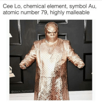 Bad, Memes, and Black: Cee Lo, chemical element, symbol Au,  atomic number 79, highly malleable  @black humorist When you're totally in your element 🤓 (Via @bad_science_jokes)