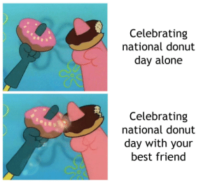 Being Alone, Best Friend, and SpongeBob: Celebrating  national donut  day alone  Celebrating  national donut  day with your  best friend 🍩 Happy international donut day! 🍩