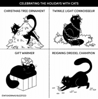 Cats, Christmas, and Memes: CELEBRATING THE HOLIDAYS WITH CATS  CHRISTMAS TREE ORNAMENTTWINKLE LIGHT CONNOISSEUR  も八  GIFT WARMER  REIGNING DREIDEL CHAMPION  @AFISHDRAWS/BUZZFEED So helpful! (@afishdraws)