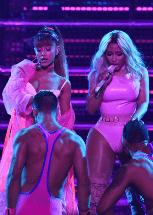 Ariana Grande, Mtv, and Music: celebritiesofcolor:  Ariana Grande and Nicki Minaj perform onstage during the 2016 MTV Video Music Awards at Madison Square Garden on August 28, 2016 in New York