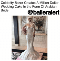 """Celebrity Baker Creates A Million-Dollar Wedding Cake In the Form Of Arabian Bride - blogged by @MsJennyb (pic @splashnews) ⠀⠀⠀⠀⠀⠀⠀ ⠀⠀⠀⠀⠀⠀⠀ When it comes to the details and decorations for a wedding, the cake is one of the most important pieces. Whether it's an elaborate, tall-tiered, detailed baked dessert or small, simple and sweet, the cake will be featured in more than half of the wedding reception photos, so it has to be beautiful. Which is why celebrity baker Debbie Wingham took her time to prepare one of the most expensive, most detailed, over-the-top cakes. ⠀⠀⠀⠀⠀⠀⠀ ⠀⠀⠀⠀⠀⠀⠀ The cake, which is worth a whopping $1 million, is shaped as an Arabian bride and is edible from head to toe. From the cake bride's lace-textured dress, edible pearls and iced flowers, the elaborate six-foot tall dessert weighs over 220 pounds, and took more than 10 days to create. ⠀⠀⠀⠀⠀⠀⠀ ⠀⠀⠀⠀⠀⠀⠀ With more than 5000 flowers, 1000 pearls, 110 pounds of fabric-like fondant and """"five flawless three-carat white diamonds all valued at $200k each, along with VVS1 smaller stones,"""" which is the only portion of the cake that is inedible, the cake is a life-size masterpiece. ⠀⠀⠀⠀⠀⠀⠀ ⠀⠀⠀⠀⠀⠀⠀ The cake bride was unveiled at the BRIDE show at Dubai World Trade Centre.: Celebrity Baker Creates A Million-Dollar  Wedding Cake In the Form Of Arabian  Bride  @balleralert Celebrity Baker Creates A Million-Dollar Wedding Cake In the Form Of Arabian Bride - blogged by @MsJennyb (pic @splashnews) ⠀⠀⠀⠀⠀⠀⠀ ⠀⠀⠀⠀⠀⠀⠀ When it comes to the details and decorations for a wedding, the cake is one of the most important pieces. Whether it's an elaborate, tall-tiered, detailed baked dessert or small, simple and sweet, the cake will be featured in more than half of the wedding reception photos, so it has to be beautiful. Which is why celebrity baker Debbie Wingham took her time to prepare one of the most expensive, most detailed, over-the-top cakes. ⠀⠀⠀⠀⠀⠀⠀ ⠀⠀⠀⠀⠀⠀⠀ The cake, which is worth a whopping $1 million, is shaped as"""