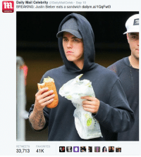 Celebrity  Daily Mail Celebrity  DailyMailCeleb Sep 10  BREAKING: Justin Bieber eats a sandwich dailym.ai/1QqFwt3  RETWEETS FAVORITES