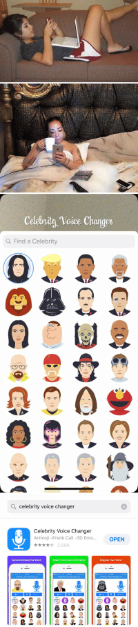"""Emo, Funny, and Memes: Celebrity Voice Changer  Q Find a Celebrity  0   Q celebrity voice changer  Celebrity Voice Changer  Animoji -Prank Call -3D Emo..  OPEN  x2.58K  Become Anyone You Want!  Make Funny Calls and Videos!  Disguise Your Voice!  5:29 PM  3 Search o6 LTE 1222 PM  00 LTE 12-22 PM  Celebrity Voice Changer Lite  Celebrity Voice Changer Lite  Celebrity Voice Changer Lite  Play  Share  Play  Share  Pay  Share  Request  Request  Voice  Request RT @StephCaris: """"What are your plans tonight?""""   Me: https://t.co/hvUK92eqyF"""
