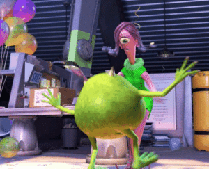 """Celia calls Mike a """"charmer"""" in Monsters Inc (2001), referencing the fact that her hair snakes are also in love with him (i.e. he's a snake charmer).: Celia calls Mike a """"charmer"""" in Monsters Inc (2001), referencing the fact that her hair snakes are also in love with him (i.e. he's a snake charmer)."""