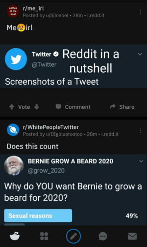 Me_irl: celios r/me_irl  of the  Posted by u/Sjloebel 28m i.redd.it  MeBirl  Twitter Reddit in a  o Twitter nutshell  Screenshots of a Tweet  Vote  Comment  Share  r/WhitePeopleTwitter  Posted by u/BIgbluetootoo 28m i.redd.it  Does this count  BERNIE GROW A BEARD 2020  @grow_2020  Why do YOU want Bernie to grow a  beard for 2020?  Sexual reasons  49% Me_irl