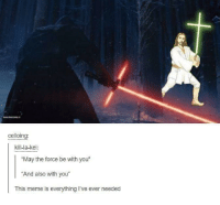 "Meme, Force, and May: celloin  kill-la-kel:  ""May the force be with you""  And also with you""  This meme is everything I've ever needed No title needed"