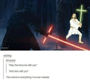 "And also with you.: celloing:  kill-la-kel:  ""May the force be with you""  ""And also with you""  This meme is everything I've ever needed And also with you."