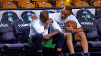 Celtic, Crying, and Family: @celtics  eltics @celtic Avery Bradley comforting Isaiah Thomas who has been crying off and on all afternoon after the death of his little sister. I don't care if he plays 48 minutes or 0, hang in there man. Prayers up to you and your family. NBA