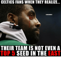 Basketball, Nba, and Sports: CELTICS FANS WHEN THEY REALIZE  @NBAMEMES  THEIR TEAM IS NOT EVENA  TOP 5 SEED IN THE EAST He's only 20 though