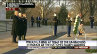 """Watch: """"Taps"""" is played moments after President-elect DonaldTrump and Vice President-elect MikePence lay a wreath to honor the nation's fallen soldiers at Arlington National Cemetery.: CEMETERY  3:39 PM  WREATH-LAYING AT TOMB OF THE UNKNOWNS  IN HONOR OF THE NATION'S FALLEN SOLDIERS  THE INAUGURATION OF  DONALD TRUMP 45th PRESIDENT Watch: """"Taps"""" is played moments after President-elect DonaldTrump and Vice President-elect MikePence lay a wreath to honor the nation's fallen soldiers at Arlington National Cemetery."""