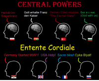 """Brains, Dank, and Finals: CENTRAL POWERS  Gott erhalte Franz  Devlet-i Ebed-muddet  Bor e c Hac  Heil dir im  """"The Eternal State  (God with us)  den Kaiser  Siegerkranz  Entente Cordiale  Germany Started WW1! USA Help! Sacre bleu!  Cyka Blyat! Jut one edgy post Goyim :v  An Englishman was rowing a boat down a river and singing, """"Rule Britannia"""".  He had sung the first line, """"When Britain first at heaven's command ..."""", when some aliens saw him. The aliens decided to conduct an experiment, so they removed half his brain, and put him back into his boat.  To their astonishment, he continued to sing, """"When Britain first at heaven's command..."""". So, to continue their experiment, they removed half of the remainder of his brain, so he had a quarter of his brain left.  They were further astonished when the man continued to sing, """"When Britain first at heaven's command..."""" After discussing further, they removed the final part of his brain and put him back in his boat.  He then sang in French, """"Allouetta, chantez allouetta ...""""  ~Hohenstaufen"""