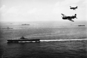 centreforaviation:  Helldivers over USS Bunker Hill, Okinawa May 1945: centreforaviation:  Helldivers over USS Bunker Hill, Okinawa May 1945