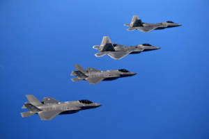 centreforaviation:  Picture of the first F-22 and F-35 joint training mission: centreforaviation:  Picture of the first F-22 and F-35 joint training mission