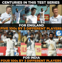 Cheteshwar Pujara is the only player to score two centuries in this series thus far.: CENTURIES IN THIS TEST SERIES  FOR ENGLAND  FIVE 100s BY 5 DIFFERENT PLAYERS  FOR INDIA  FOUR 100s BY 3 DIFFERENT PLAYERS Cheteshwar Pujara is the only player to score two centuries in this series thus far.