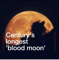 "Africa, America, and Blood Moon: Century's  longest  blood moon For those who managed to see it, the ""blood moon"" was simply stunning. Tap the link in our bio 👆 to find out more about the longest lunar eclipse of the 21st Century, witnessed by (most of) the world. As it rose, the Moon turned a striking shade of red or ruddy brown. The ""totality"" period, where light from the Moon was totally obscured, lasted for one hour, 43 minutes. At least part of the eclipse was visible from Europe, the Middle East, Africa, Australia, most of Asia and South America. bloodmoon lunareclipse moon fullmoon eclipse stunning bbcnews"