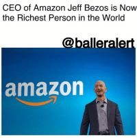 Amazon, Friday, and Head: CEO of Amazon Jeff Bezos is Now  the Richest Person in the Worlo  @balleralert  amazon CEO of Amazon Jeff Bezos is Now the Richest Person in the World - Blogged by: @RaquelHarrisTV ⠀⠀⠀⠀⠀⠀⠀ ⠀⠀⠀⠀⠀⠀⠀ JeffBezos is the CEO of Amazon. He's also been named the world's richest man - for the second time. ⠀⠀⠀⠀⠀⠀⠀ ⠀⠀⠀⠀⠀⠀⠀ Friday morning, Amazon's stock opened up 8 percent higher than Thursday's close. This raised Bezos' net worth to $7 billion. However, Microsoft and Amazon went head-to-head early on Friday with Microsoft getting a 7 percent bump putting co-founder, BillGates, at 90.1 billion compared to Bezos' 89.7 billion. ⠀⠀⠀⠀⠀⠀⠀ ⠀⠀⠀⠀⠀⠀⠀ But the battle ended around 10:15am (ET) when Amazon's stock climbed 2 percent adding $900 million to Bezos' net worth and leaving him in the No. 1 spot. Bezos now is worth $90.6 billion versus Gates' 90.1 billion. ⠀⠀⠀⠀⠀⠀⠀ ⠀⠀⠀⠀⠀⠀⠀ Amazon excelled the 42.1 billion in what analysts predicted for its earnings but the company beat their odds with 43.7 billion in total revenue. Amazon had bought Whole Foods in August which made up 1.3 billion of its revenue for the quarter. ⠀⠀⠀⠀⠀⠀⠀ ⠀⠀⠀⠀⠀⠀⠀ Bezos became the world's richest man three months ago when's Amazon's stock hit its peak on July 27th. This is first time Bezos will be No. 1 on the list of Forbes' Realtime Billionaires List.