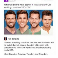 Haircut, Memes, and Wow: CeonlineTV  Who will be the next star of #TheBachelor? Our  ranking: eonli.ne/290u77V  rafi-dangelo  I have a sneaking suspicion that the next Bachelor wil  be a dark-haired, square-headed white man with  stubble and a More On Top haircut that inexplicably  costs $85.  Meet Grayden, Brayden, Trayden, and Okayden. DEAD wow and people say Asians all look the same... -Gabby