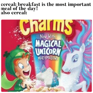Growing up is a big dirty lie: cereal: breakfast is the most important  meal of the da  also cereal  Chams  Now With  MAGICAL  UNICORN  MARSHMAILOWS Growing up is a big dirty lie