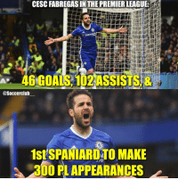 Fabregas 💪🏼🇪🇸 Who is your favourite Spanish player?👇🏼: CESC FABREGAS IN THE PREMIERLEAGUE:  TYRE  46 GOALS 102ASSISTS &  @Soccerclub  1stSPANIARDYTO MAKE  300 PLAPPEARANCES Fabregas 💪🏼🇪🇸 Who is your favourite Spanish player?👇🏼