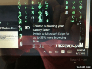 9gag, Chrome, and Microsoft: ' Cf  Chrome is draining your  battery faster  Switch to Microsoft Edge for  up to 36% more browsing  time.  Wireless Rout  ncEruriL.UUM  5:05 PM  8/7/2016  TouchSmart  VIA 9GAG.COM Nice try Microsoft