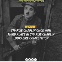 Charlie, Memes, and Queen: CFACTSPERT  CHARLIE CHAPLIN ONCE WON  THIRD PLACE IN CHARLIE CHAPLIN  LOOKALIKE COMPETITION According to legend, somewhere between 1915 and 1921, Chaplin entered a look-alike contest of himself in France. He probably thought he was a shoo-in for the prize and everyone would have a hearty laugh at the end. But then he came in third. A theory: Chaplin's eyes probably threw off the judges, since those baby blues couldn't be seen in black and white. But Chaplin isn't the only celebrity to have lost a look-alike contest of themselves to an impostor: The one-and-only Dolly Parton once lost a drag queen competition of her likeness. charliechaplin