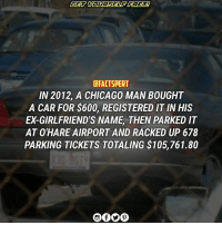 One particular car has set the Chicago, Illinois record for most parking violations and fines. The city claims Jennifer Fitzgerald owes $105,761.80 for the debt Chicago officials say the 31 year old, single mother of one owes for parking violations issued to a 1999 Chevy Monte Carlo registered in her name. Fitzgerald claims she did not own, drive or park the car where Chicago's Department of Finance (DOF) says it racked up 678 bright orange parking tickets over a period of nearly three years. Based on DOF records, the car in question seems to have set a record in Chicago for having received the highest number of parking tickets as well as accruing the largest fine amounts ever, beating Chicago's number two ranked parking ticket scofflaw by $65,000 and over 400 violations. Fitzgerald is fighting back against the city, her ex-boyfriend and United Airlines with a lawsuit filed November 2 in Cook County Circuit Court. According to the complaint, the somewhat confusing story starts when her former boyfriend Brandon Preveau, bought a 1999 Chevy Monte Carlo from Fitzgerald's uncle for $600 in 2008. Despite paying all the fees associated with owning a vehicle (registration, title and insurance) he put the vehicle's registration in Fitzgerald's name - something the West Side Chicago resident claims was done without her knowledge. Despite having had a baby together, the couple broke up at the start of 2009. Preveau took the car with him after their split. He used the Monte Carlo to drive to work at O'Hare Airport where he was employed by United Airlines. Preveau would leave the vehicle in O'Hare parking lot E, a secured outdoor lot surrounded by high chain link fencing, that is open to the flying public but also utilized by airport employees. The parking lot is owned by the city of Chicago and operated by Standard Parking Corporation, but according to the complaint, United Airlines leases spaces in the lot for use by airline employees. SOURCE : THE NEWSPAPER: CFACTSPERT  IN 2012, A CHICAGO MAN BOUGHT  A CAR FOR $600, REGISTERED IT INHIS  ED GIRLFRIEND'S NAME THEN PARKED IT  AT O'HARE AIRPORT AND RACKED UP 678  PARKING TICKETS TOTALING $105,761.80 One particular car has set the Chicago, Illinois record for most parking violations and fines. The city claims Jennifer Fitzgerald owes $105,761.80 for the debt Chicago officials say the 31 year old, single mother of one owes for parking violations issued to a 1999 Chevy Monte Carlo registered in her name. Fitzgerald claims she did not own, drive or park the car where Chicago's Department of Finance (DOF) says it racked up 678 bright orange parking tickets over a period of nearly three years. Based on DOF records, the car in question seems to have set a record in Chicago for having received the highest number of parking tickets as well as accruing the largest fine amounts ever, beating Chicago's number two ranked parking ticket scofflaw by $65,000 and over 400 violations. Fitzgerald is fighting back against the city, her ex-boyfriend and United Airlines with a lawsuit filed November 2 in Cook County Circuit Court. According to the complaint, the somewhat confusing story starts when her former boyfriend Brandon Preveau, bought a 1999 Chevy Monte Carlo from Fitzgerald's uncle for $600 in 2008. Despite paying all the fees associated with owning a vehicle (registration, title and insurance) he put the vehicle's registration in Fitzgerald's name - something the West Side Chicago resident claims was done without her knowledge. Despite having had a baby together, the couple broke up at the start of 2009. Preveau took the car with him after their split. He used the Monte Carlo to drive to work at O'Hare Airport where he was employed by United Airlines. Preveau would leave the vehicle in O'Hare parking lot E, a secured outdoor lot surrounded by high chain link fencing, that is open to the flying public but also utilized by airport employees. The parking lot is owned by the city of Chicago and operated by Standard Parking Corporation, but according to the complaint, United Airlines leases spaces in the lot for use by airline employees. SOURCE : THE NEWSPAPER