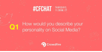 #CFCHAT  THURSDAYS  11:30AM, ET  How would you describe your  personality on Social Media?  Crowd fire Q1. How would you describe your personality on Social Media?🌟📱 cfchat