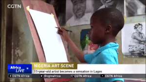 Africa, Future, and Instagram: CGTN  Africa o  LIVE  f CGTN Africa  NIGERIA ART SCENE  11-year-old artist becomes a sensation in Lagos  @cgtnafrica  g CGTN Africa  COTN Africa siege1: gahdamnpunk:  Look how talented he is!!  His instagram is  waspa_art     I love that he's that good at 11. I can't even imagine how his style will look in the future with even more years of practice on him