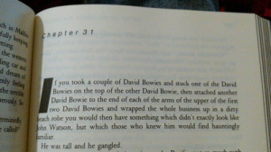 "Books, David Bowie, and Puppies: ch in  fully k  tti  Chapter 3 1  ng  he west  ing car and  f you took a couple of David Bowies and stuck one of the David  Bowies on the top of the other David Bowie, then attached another  David Bowie to the end of each of the arms of the upper of the first  two David Bowies and wrapped the whole business up in a dirty  each robe you would then have something which didn't exactly look like  d dream of  enly fling  the terrible  eously. So  rminedly  ecalled"" John Watson, but which those who knew him would find hauntingy  amiliar  He was tall and he gangled. aeruh:  marsdaydream:  drinkmasturbatecry:  nudityandnerdery:  the-fandoms-are-valentines:  grandtheftautosanandreas:  Douglas Adams is the best when it comes to describe characters  they need to teach classes on Douglas Adams analogies okay ""He leant tensely against the corridor wall and frowned like a man trying to unbend a corkscrew by telekinesis."" ""Stones, then rocks, then boulders which pranced past him like clumsy puppies, only much, much bigger, much, much harder and heavier, and almost infinitely more likely to kill you if they fell on you."" ""He gazed keenly into the distance and looked as if he would quite like the wind to blow his hair back dramatically at that point, but the wind was busy fooling around with some leaves a little way off."" ""It looked only partly like a spaceship with guidance fins, rocket engines and escape hatches and so on, and a great deal like a small upended Italian bistro."" ""If it was an emotion, it was a totally emotionless one. It was hatred, implacable hatred. It was cold, not like ice is cold, but like a wall is cold. It was impersonal, not as a randomly flung fist in a crowd is impersonal, but like a computer-issued parking summons is impersonal. And it was deadly - again, not like a bullet or a knife is deadly, but like a brick wall across a motorway is deadly.""  And, of course: ""The ships hung in the sky in much the same way that bricks don't.""  the one that will always stay with me is ""Arthur Dent was grappling with his consciousness the way one grapples with a lost bar of soap in the bath,"" i feel like that was the first time i really understood what you could do with words.  I will reblog this every time I see it because these are some of my favorite sentences in the English language.   @forest-of-books"