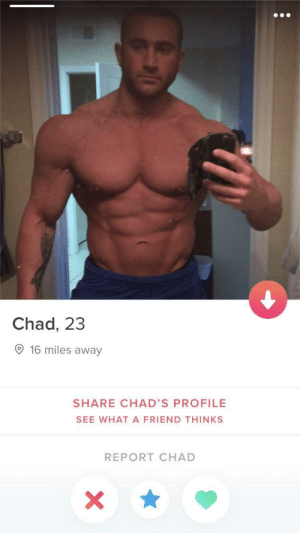 Incels this is your final boss: Chad, 23  O 16 miles away  SHARE CHAD'S PROFILE  SEE WHAT A FRIEND THINKS  REPORT CHAD Incels this is your final boss