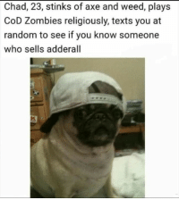 Lmaooo Dank Recovery Memes: Chad, 23, stinks of axe and weed, plays  CoD Zombies religiously, texts you at  random to see if you know someone  who sells adderall Lmaooo Dank Recovery Memes