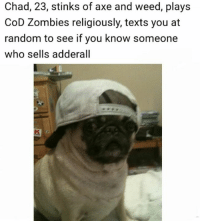 - Donnie/Trending Memes: Chad, 23, stinks of axe and weed, plays  CoD Zombies religiously, texts you at  random to see if you know someone  who sells adderall - Donnie/Trending Memes