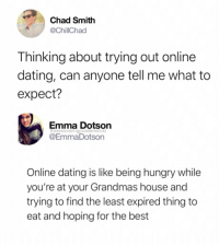 Dating, Hungry, and Online Dating: Chad Smith  @ChillChad  Thinking about trying out online  dating, can anyone tell me what to  expect?  Emma Dotson  @EmmaDotson  therecoveringproblemchild  Online dating is like being hungry while  you're at your Grandmas house and  trying to find the least expired thing to  eat and hoping for the best