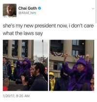 <p>With liberty and mcmuffins for all (via /r/BlackPeopleTwitter)</p>: Chai Goth  @Abid_ism  she's my new president now, i don't care  what the laws say  1/20/17, 9:25 AM <p>With liberty and mcmuffins for all (via /r/BlackPeopleTwitter)</p>
