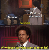 MEME CONTEST! Swipe left for the blank template. Rules are simple, just make a meme. The best one gets featured 💪🏼🙌🏼: Chain of  command  Morale  [gunshots]  [adultswim.com)  @pop_smoke_official  Why doesn't anyone want to re-enlist?  [adultswim.com MEME CONTEST! Swipe left for the blank template. Rules are simple, just make a meme. The best one gets featured 💪🏼🙌🏼