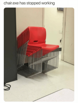 Funny, Chair, and Working: chair.exe has stopped working *Drrrrrringgg* via /r/funny https://ift.tt/2Nbm4UT